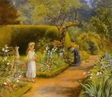 Oil painting arthur hacker - visit to grandmother figures in spring landscape @@