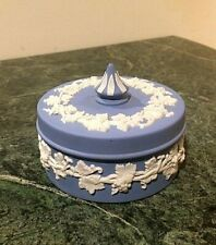 WEDGWOOD Vintage BLUE JASPERWARE lided Jewelry Trinket Box