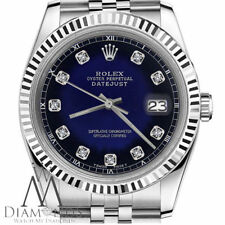 Blue Vignette Rolex 26mm Datejust Diamond Accent Stainless Steel Jubilee Watch