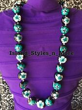 Hawaii Wedding Kukui Nut Lei Graduation Luau Hula Necklace Hibiscus TEAL WHITE