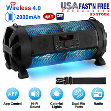 Portable Wireless Speakers Pulse LED Dancing Party Lights Bass SD AUX FM MIC