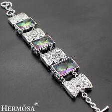 "Exotic Lace Sweet Shiny Antique Mystical Topaz Links Sterling Silver Bracelet 8"""