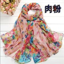 Nude Women's Long Fashion Soft Cotton blend Shawl Flower Wraps Scarf Scarves