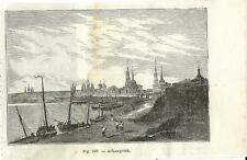 Stampa antica ARKHANGELSK panorama Russia 1889 Antique print античный печать
