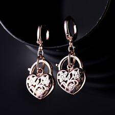 Elegant Rose Gold Filled Womens Infinity Heart Lock Wedding Dangle Hoop Earrings
