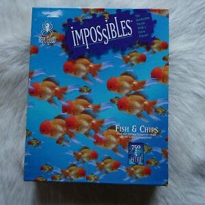 Be Puzzled IMPOSSIBLES Fish & Chips 1994 750+5 Extra Jigsaw Puzzles BORDERLESS