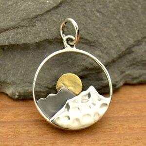 Sterling Silver Bronze Sun Mountain Range Pendant Necklace Travel Adventure 3115