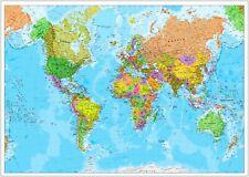 World Map Detailed Large Poster Art Print A0 A1 A2 A3 A4 Maxi