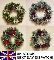 26-41cm Artificial Christmas Wreath Poinsettia Snow White Berries Holly Ivy