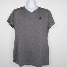 Adidas Womens T-Shirt Short Sleeves Top Casual Shirt V Neck Tee Gray Size XL