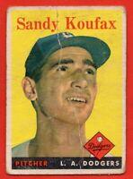 1958 Topps #187 Sandy Koufax LOW GRADE FILLER HOF Los Angeles Dodgers FREE S/H