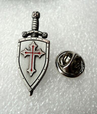ZP464 Knights Templar Shield Crusader St George Sword Cross Pin Badge Medieval