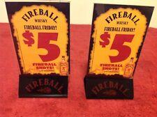 Lot (2) Fireball Whiskey Black Bottom Acrylic Table Tent Advertisement Holder