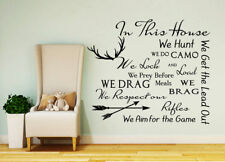 Family QUOTE Wall Decal Deer Antler Stickers House Rules Quote Decor Home FD196