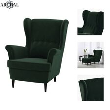 IKEA STRANDMON Wing Chair, High Back, In Dark Green (Stool Not Included)