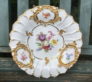 Meissen Gilded Charger Plate Hand Painted Flowers Moulded Circa 1924-1934