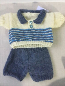 Hand Knitted Teddy Bear Jumper And Trousers. Waist Approx 28cm. Chest 30cm.