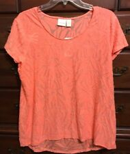 Chico's Ardent Coral Burnout Short Sleeve Tee Size 2 (12/14) NWT