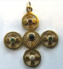 Rare antique vintage cross pendant 14 kt yellow gold crucifix precious stones Au