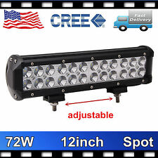 12'' 72W CREE LED Work Light Bar Jeep Driving Truck Spot Lamp Fog 12V24V VS 14""