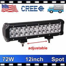 12'' 72W CREE LED Work Light Bar Jeep Driving Truck Spot Lamp adjustable 12V 24V