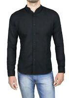 Camicia di lino uomo Diamond sartoriale casual nera primavera estate da S a XXXL