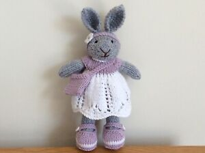 Hand Knitted Bunny Rabbit, Mauve & White Clothes - Gift, Birthday, Present