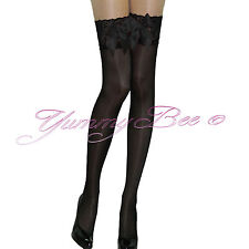 Yummy Bee Fancy Dress Tights Stockings Over Knee Women Hold UPS Sheer Socks XL Blacks Opaque Lace Tops Bows M