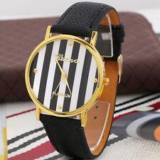 Men Women Watch PU Leather Analog Quartz Casual Wrist Watch New Casual