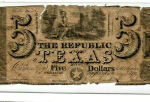 """$5 """"TEXAS"""" (REPUBLIC OF TEXAS) 1800'S RARE!!  $5 (REPUBLIC OF TEXAS)  $5 RARE!!!"""
