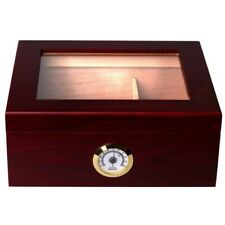 Mantello Royale 25-50 Glass-Top Rosewood Cigar Humidor w/Hygrometer & Cedar Tray