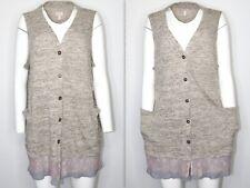 LOGO Lori Goldstein 2X Womens Cardigan Plus Size Sweater Knit Vest Lace Chiffon