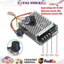 Dc 10 55v Max 60a Pwm Motor Speed Controller Cw Ccw Reversible 12v 24v 36v Usa
