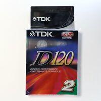 2-pack TDK D120 audio cassette tape, 2 tapes each holds 120 min, 2 x 60 min/side