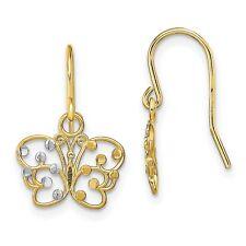 Butterfly Wire Earrings In Real 14k Yellow Two Tone Gold 8 mm x 12 mm 0.97gr