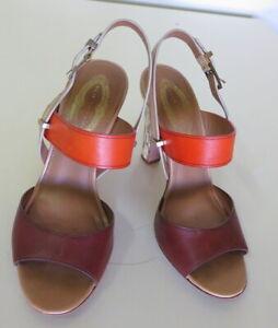 Stylish Tan & Orange Sandal with Skin Block Heels from Elie Tahari - Size 37