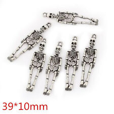 10pcs Skeleton Beads Tibetan Silver Charms Pendant DIY Bracelet 39*10mm
