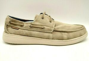 Skechers Faded Brown Canvas Casual Lace Up Deck Boat Loafers Shoes Men's 13