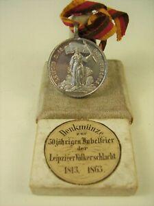 Denkmünze 50 Jährigen Jubelfeier Leipziger Völkerschlacht 1813 -1863 im Etui