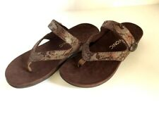 VIONIC Ladies  'REST COCOA'  Bronze Snake Thong Sandals  Sz. 8 M  NIB