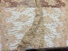 Beaded Fabric By Yard Champagne Beautiful Diamonds Embroidered Wedding Fabric