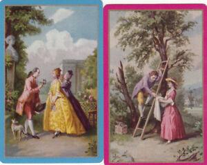 #82 2 (pair) vintage single playing swap cards - Old Worlde People scenes  -JS