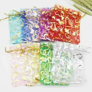 50/100Pcs Rose Organza Gift Bags Wedding Party Favour Xmas Jewellery Candy Pouch