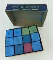 Vintage Box of National Tournament Pool Chalk (12 Pieces)