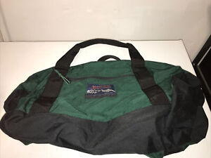 Vintage 90s Jansport Duffel Bag Green Large Made in USA Canvas Outdoor Carry On