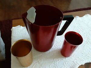 Vintage Regal Red Aluminum Pitcher and Two Glasses