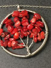 """Chakra Tree of Life Red Coral Gemstone Charm Tibetan Silver 18"""" Necklace"""