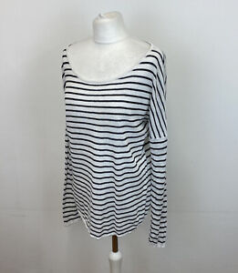 The White Company Oversized Linen Jumper White Striped Baggy Sz 10 UK Ladies