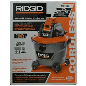 Ridgid HD0918 18V 9 Gallon Wet/Dry Cordless Shop Vacuum - Bare Tool