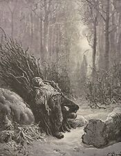 La mort et le bûcheron Gustave Doré Xylographie Fable de la Fontaine 1868
